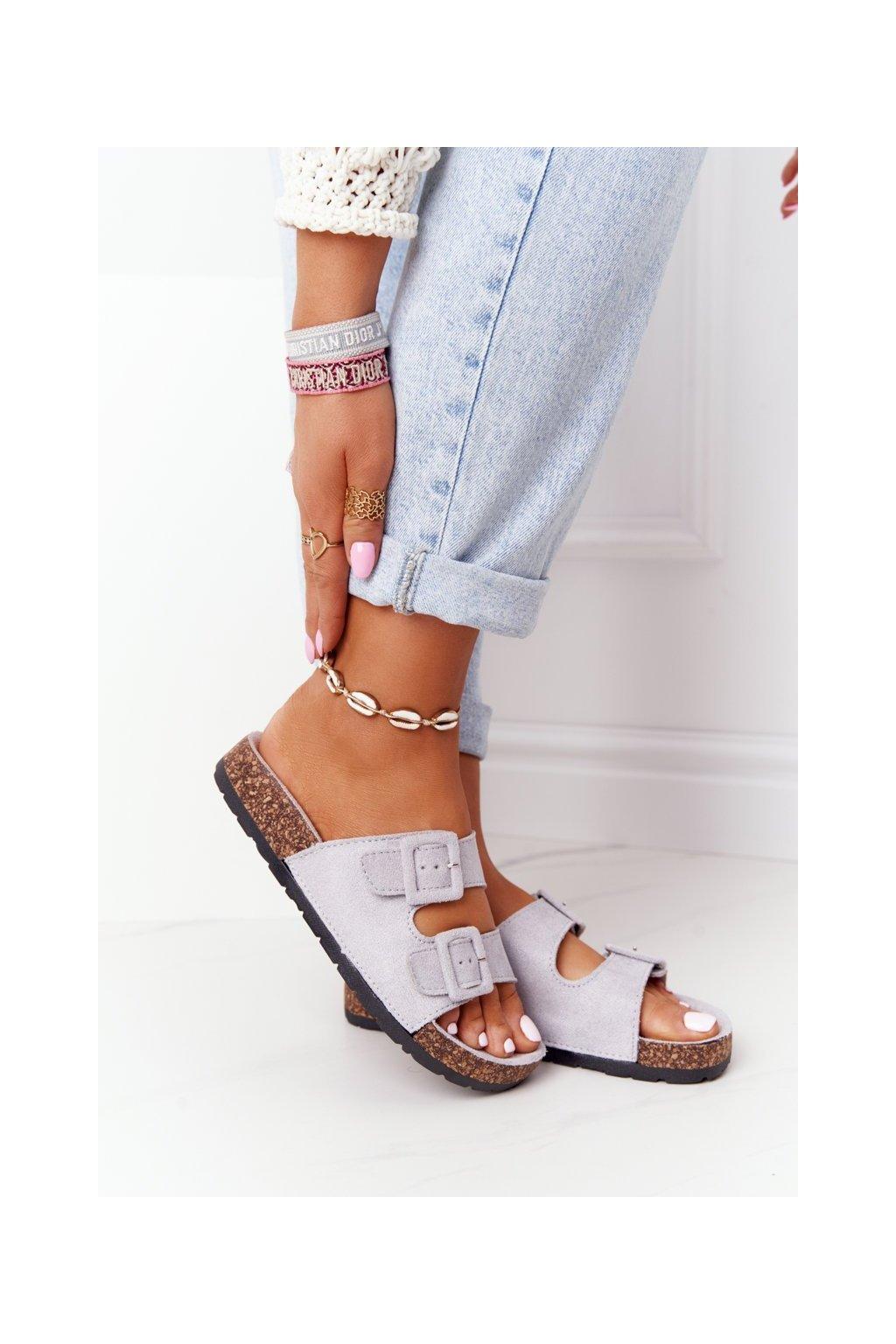 Dámske šľapky farba sivá kód obuvi DZ109-33 GREY