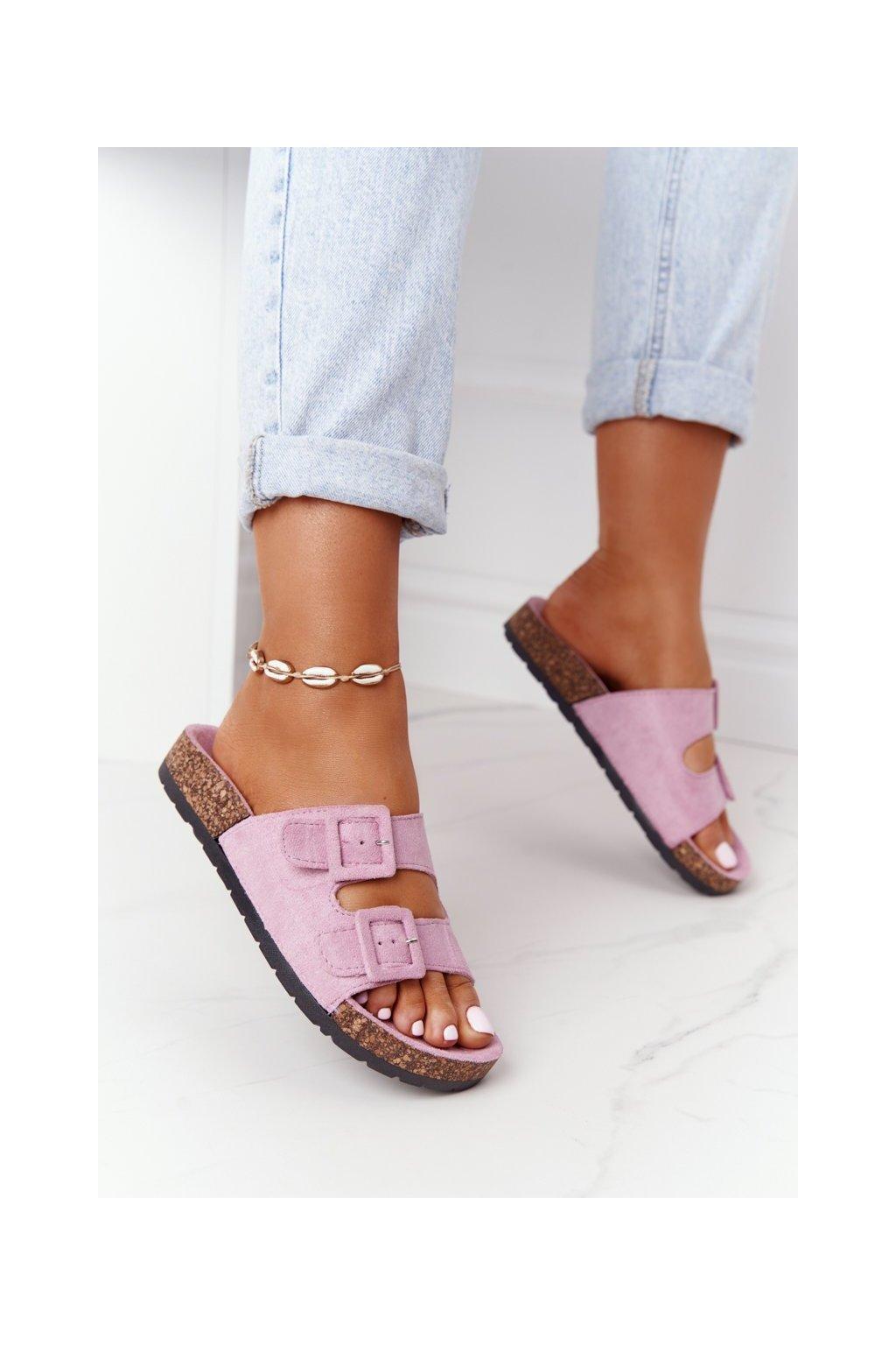 Dámske šľapky farba fialová kód obuvi DZ109-27 L.PURPLE