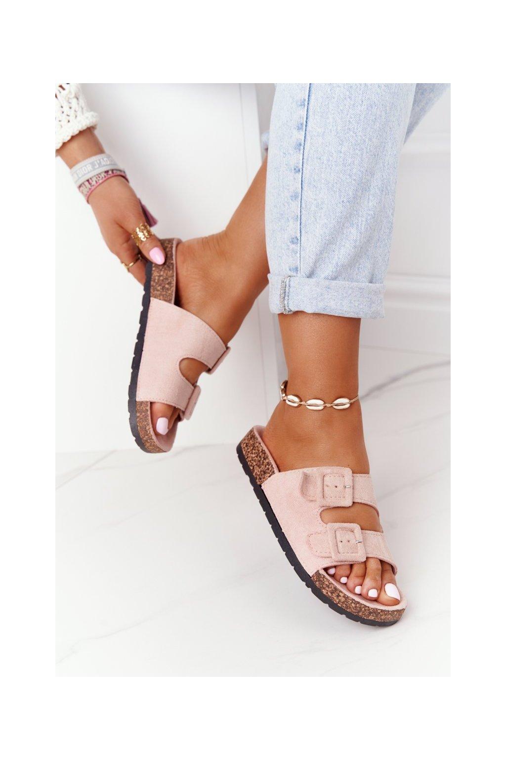 Dámske šľapky farba ružová kód obuvi DZ109-82 PINK
