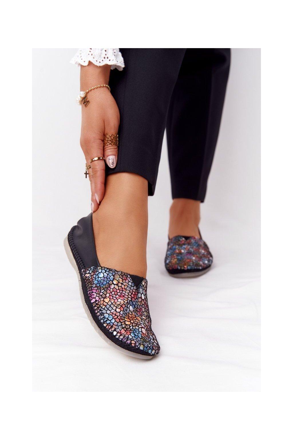 Dámske balerínky farba čierna kód obuvi 01930-87/00-0 CZARNY,MULTIKOLOR
