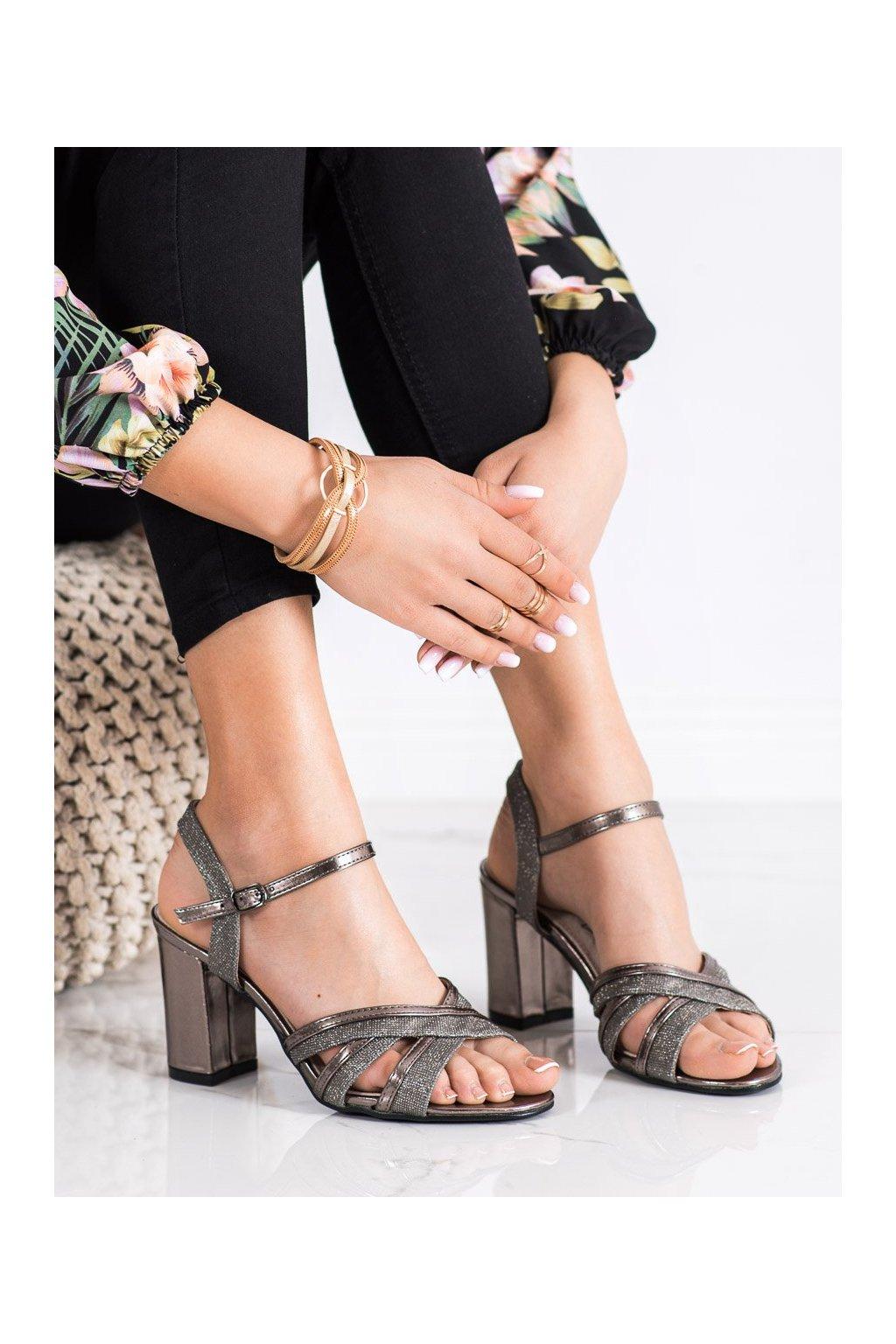 Sivé sandále na podpätku Shelovet kod 20SD25-2090PEW