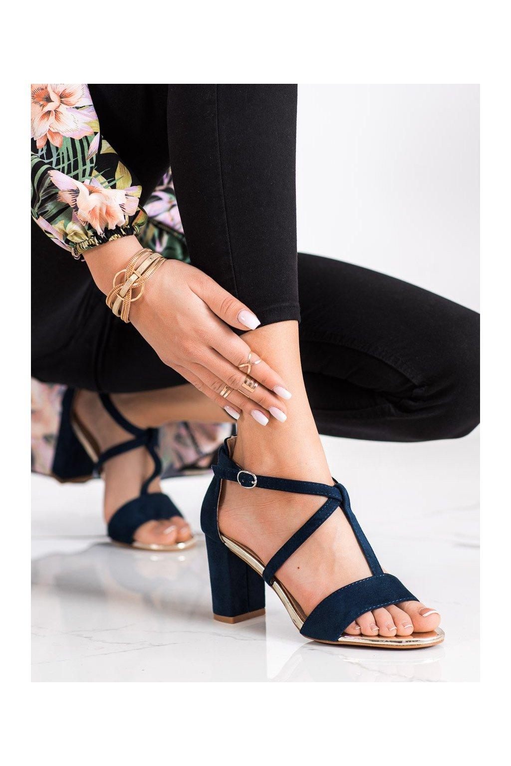 Modré sandále na podpätku Vinceza kod YQE21-17098N
