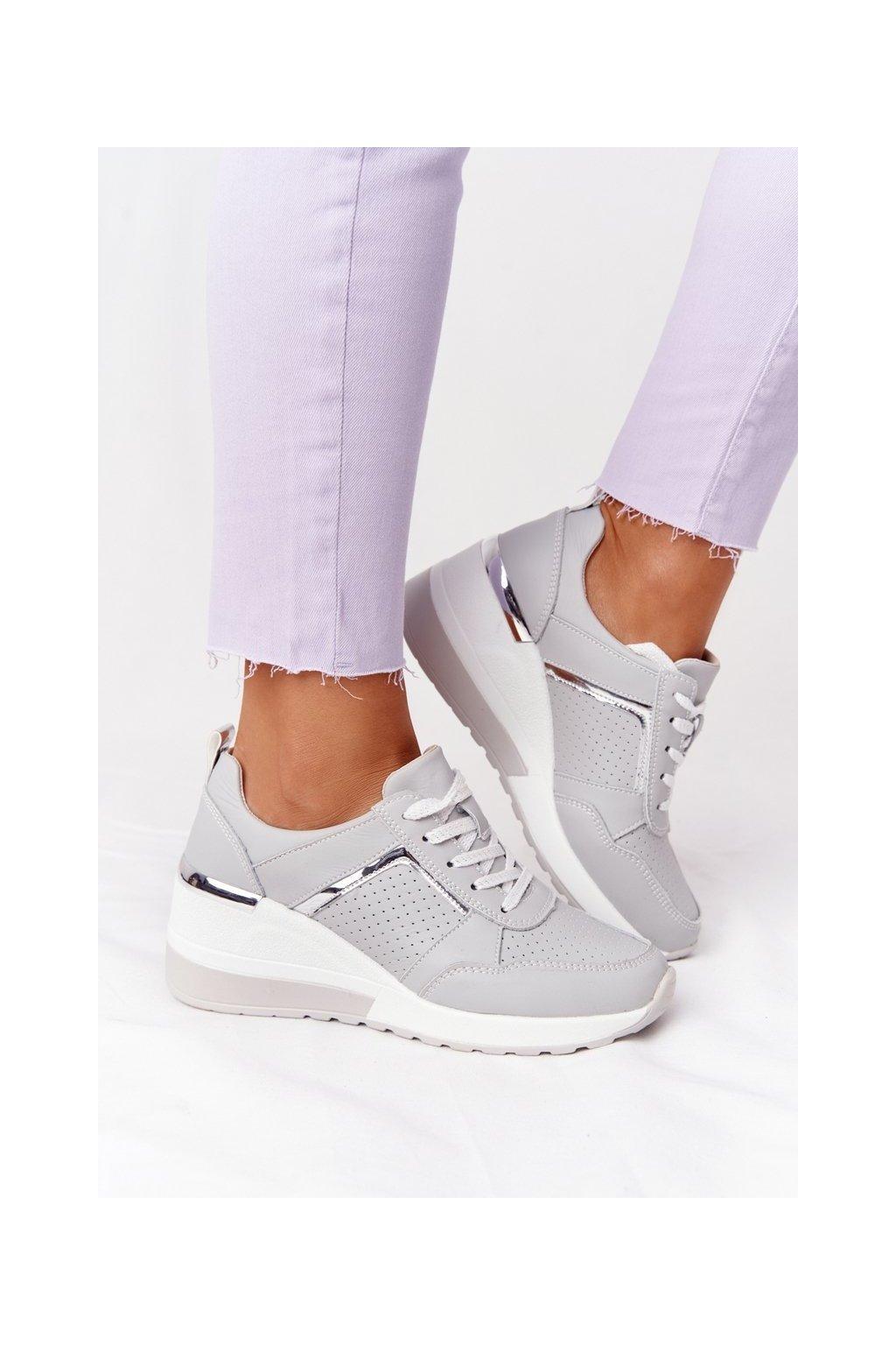 Dámske tenisky farba sivá kód obuvi 97627 GREY