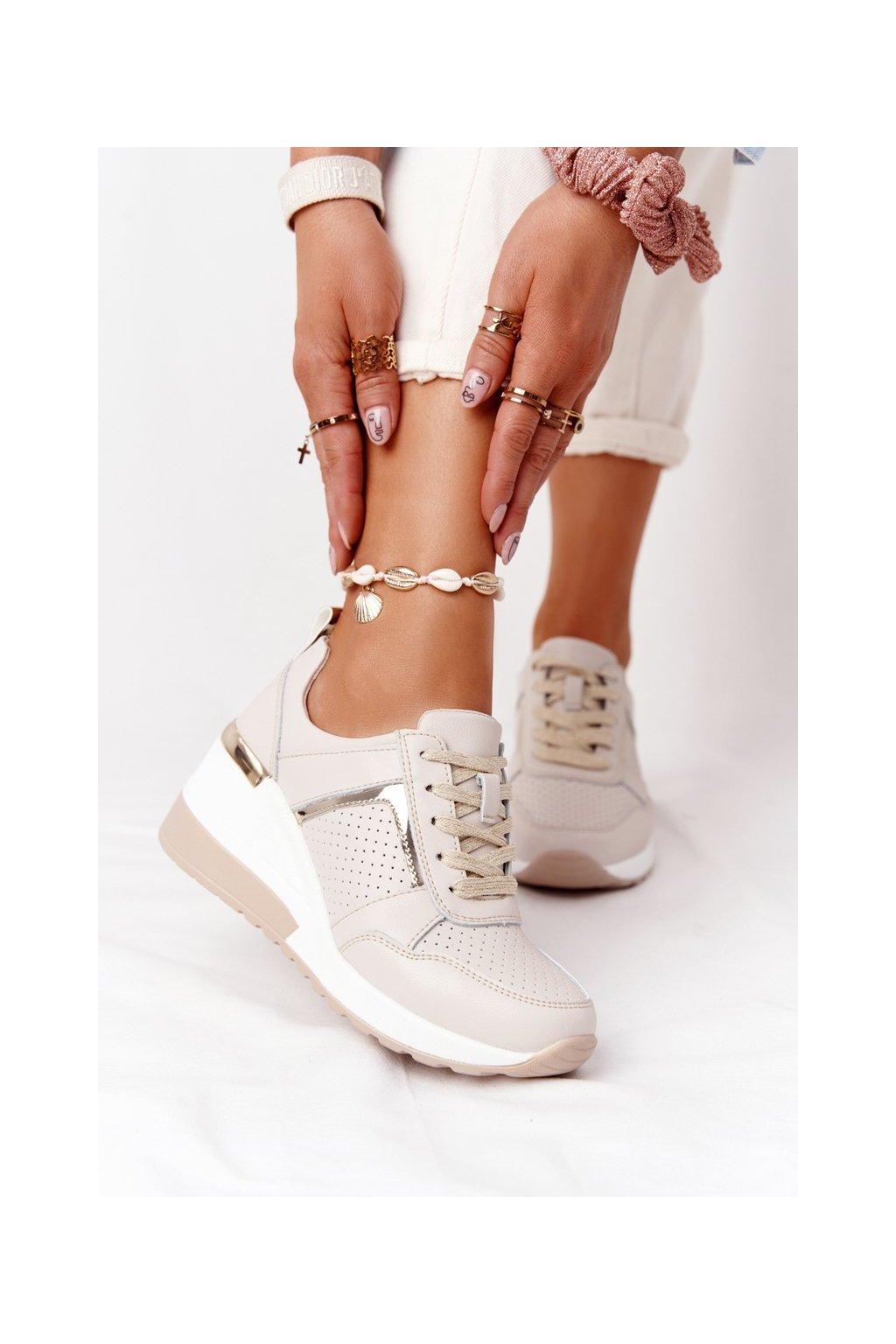 Dámske tenisky farba hnedá kód obuvi 97627 BEIGE
