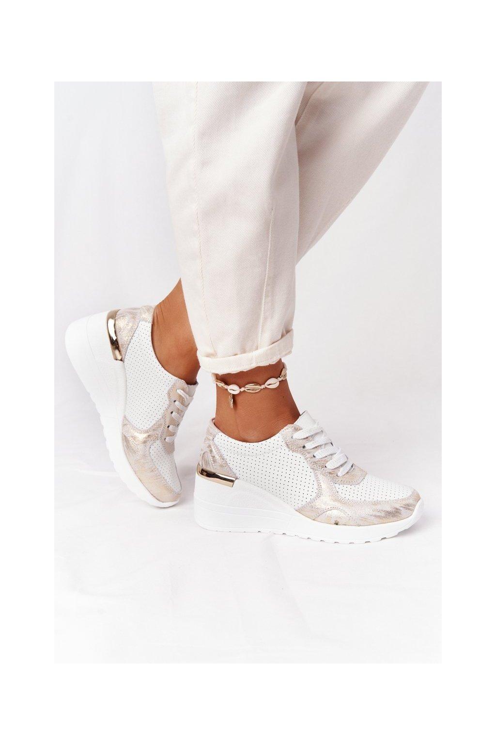 Dámske tenisky farba biela kód obuvi 92105 WHITE/GOLD