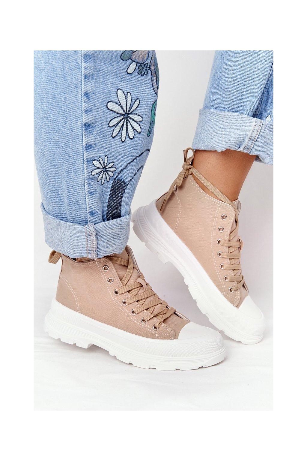 Dámske tenisky farba hnedá kód obuvi B0-677 KHAKI