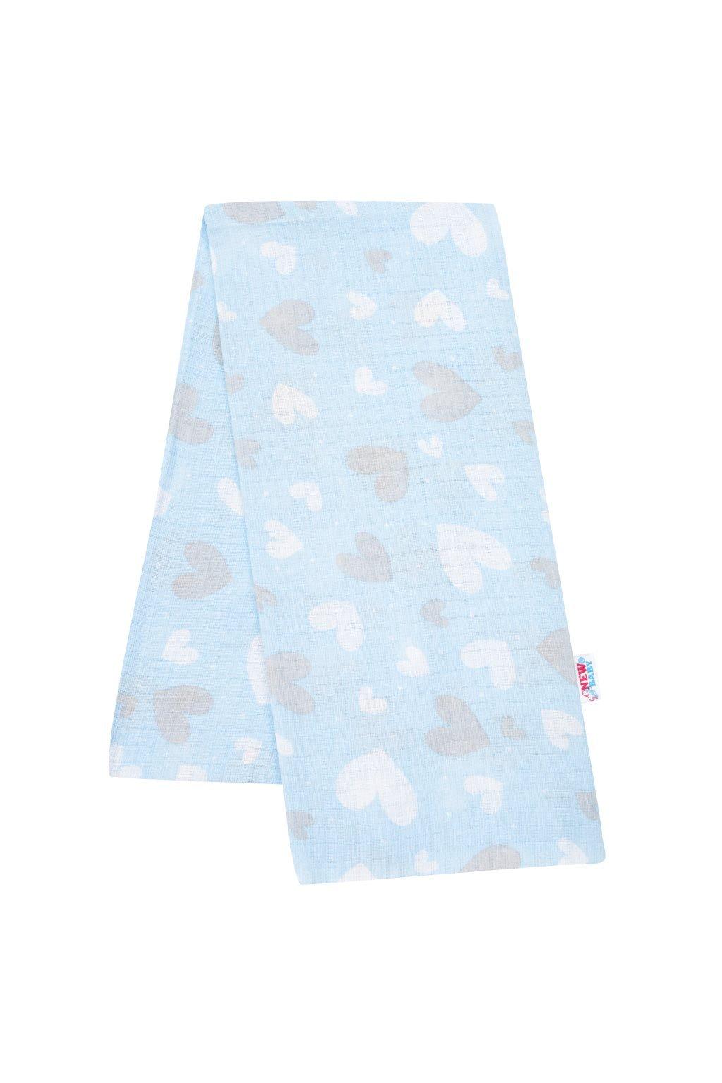 Bavlnená plienka s potlačou New Baby modrá srdiečka
