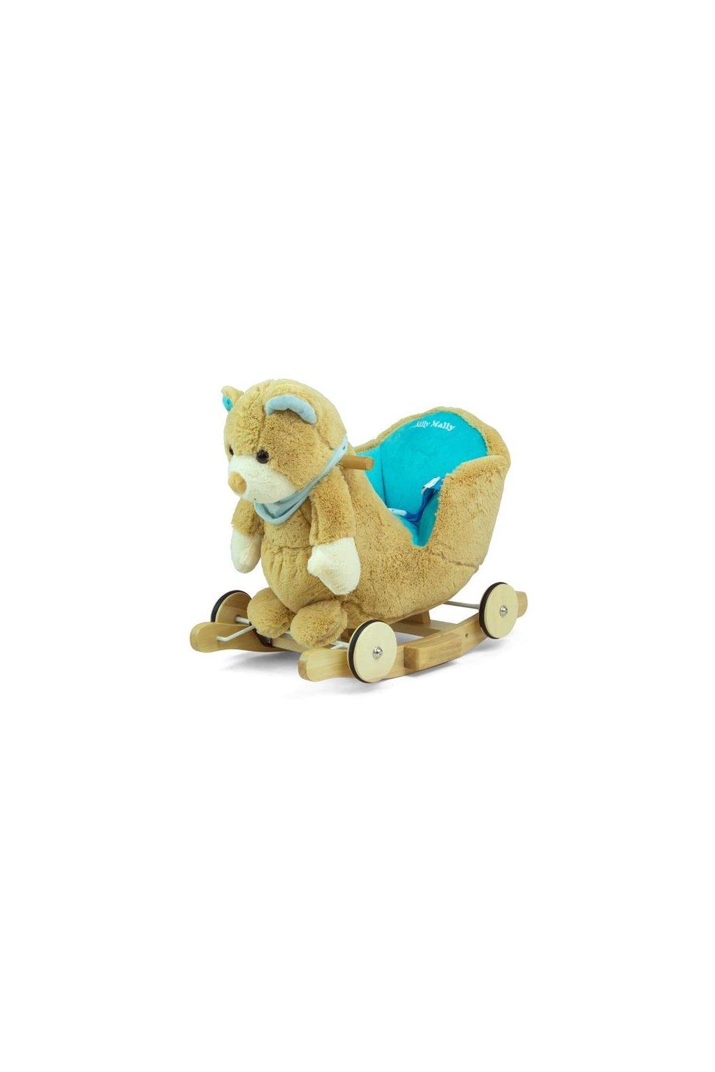 Hojdacia hračka s melódiou a kolieskami Milly Mally Polly Medvedík sivo-modrý