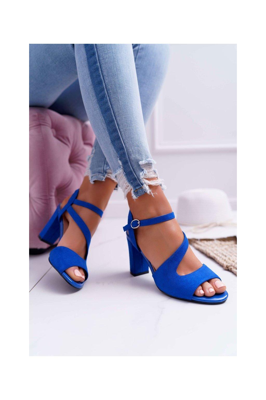 Dámske sandále na podpätku farba modrá kód obuvi SK868 INDIGO MIC
