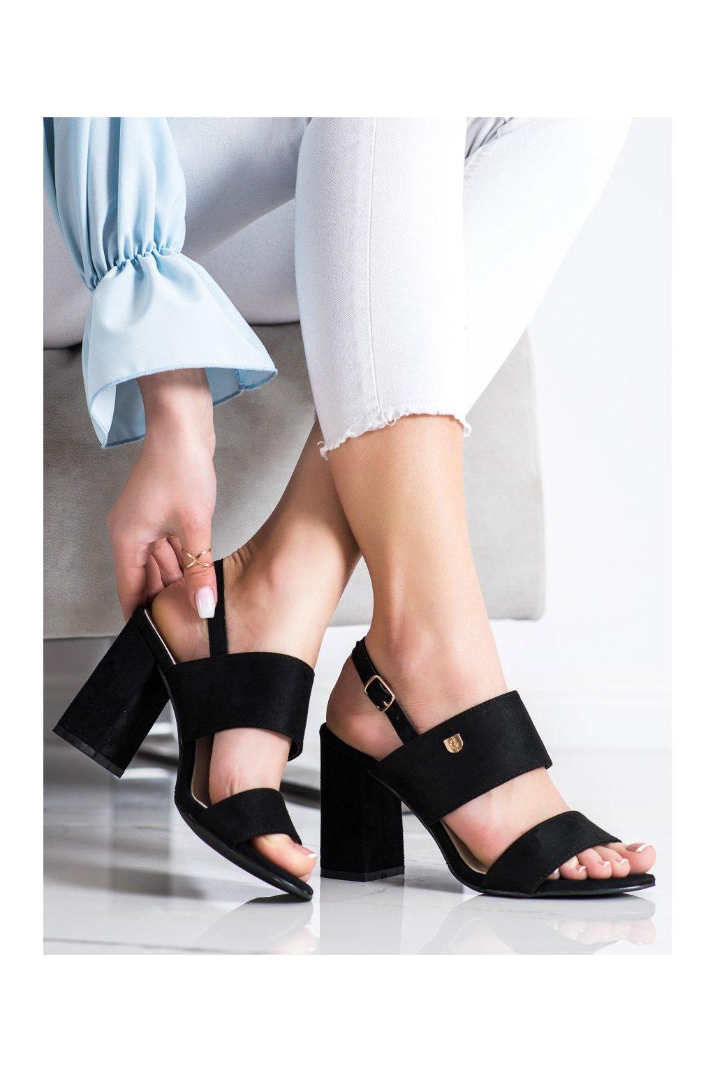 Čierne sandále na podpätku Goodin kod GD-FL241A-B