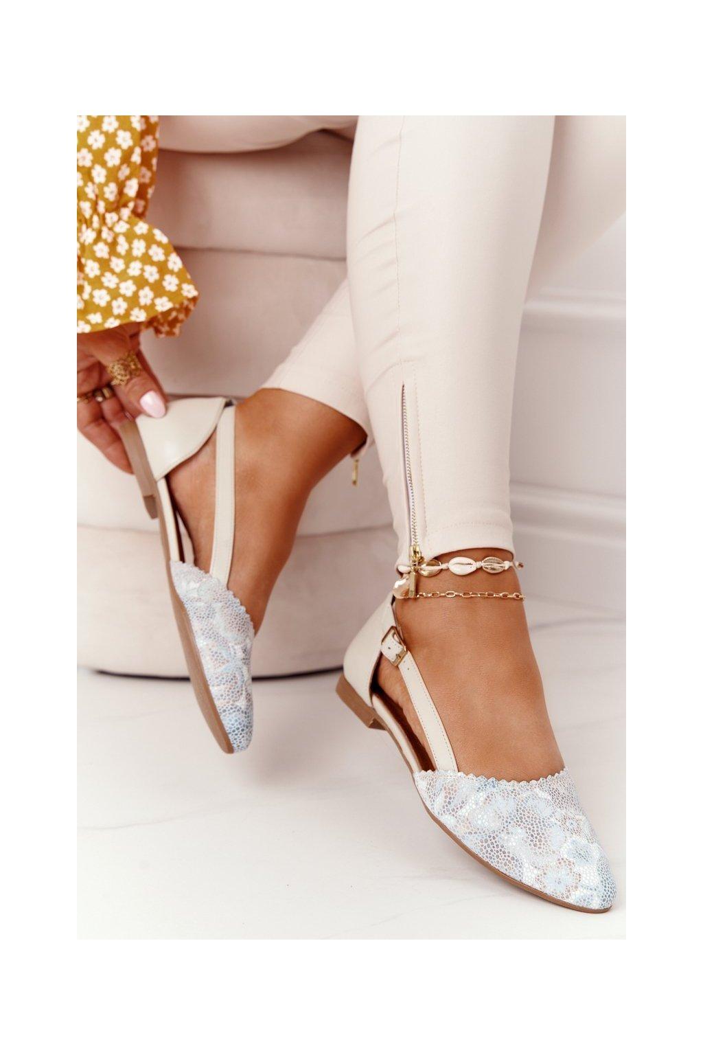 Dámske balerínky farba hnedá kód obuvi 4972A-04/00-5 BEŻ,BLADY TURKUS