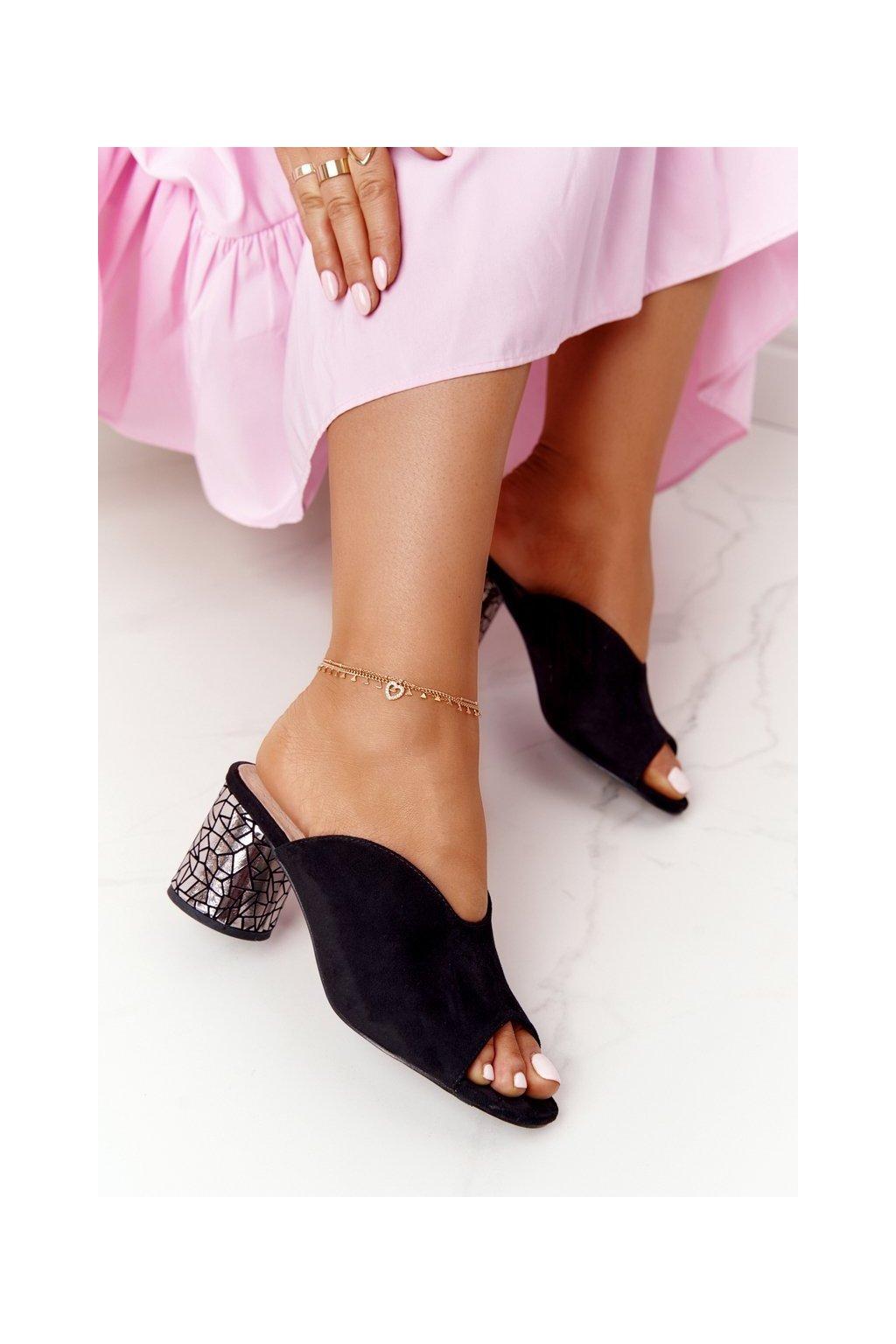 Dámske šľapky farba čierna kód obuvi C420-15 BLACK