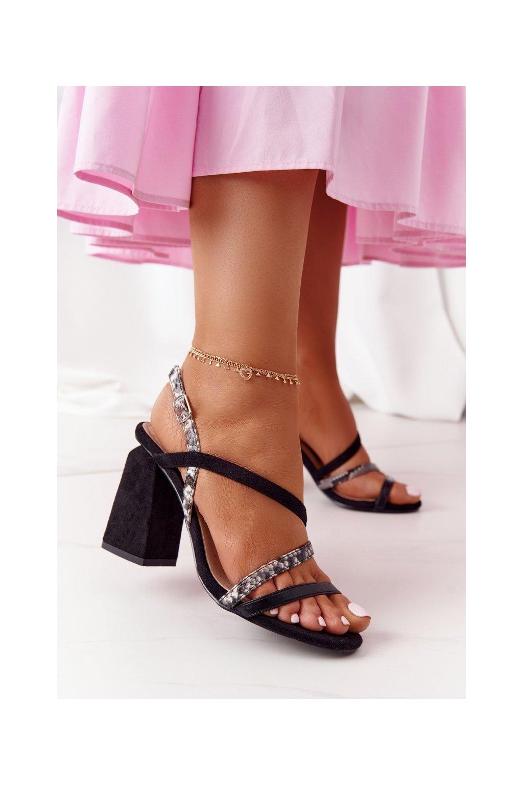 Dámske sandále na podpätku farba čierna kód obuvi LJ432-1 BLACK