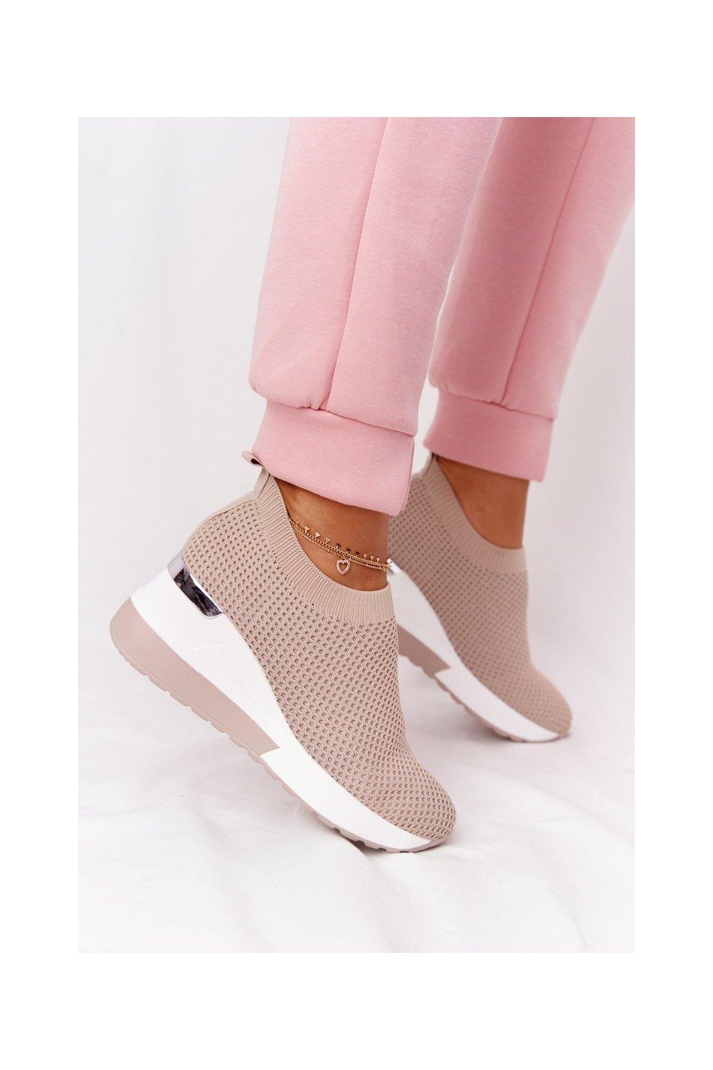 Dámske tenisky farba hnedá kód obuvi HO248 BEIGE