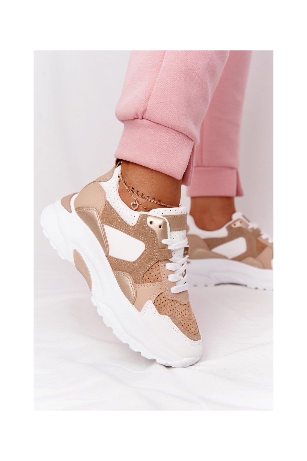 Dámske tenisky farba hnedá kód obuvi AB851 KHAKI