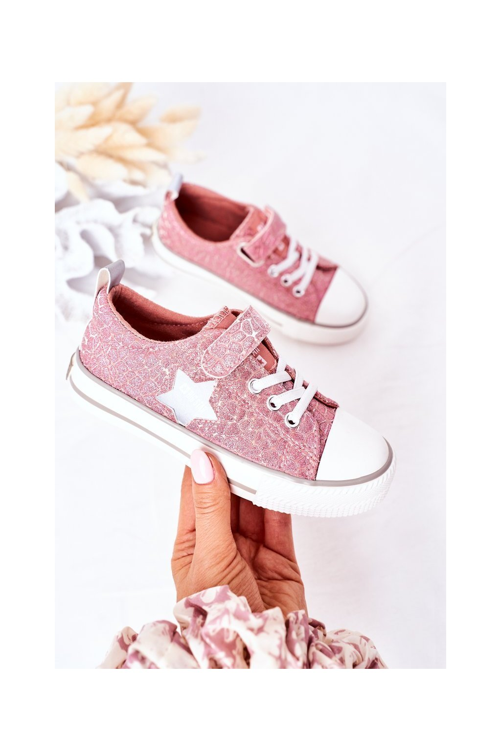 Detské tenisky farba ružová kód obuvi HH374027 PINK