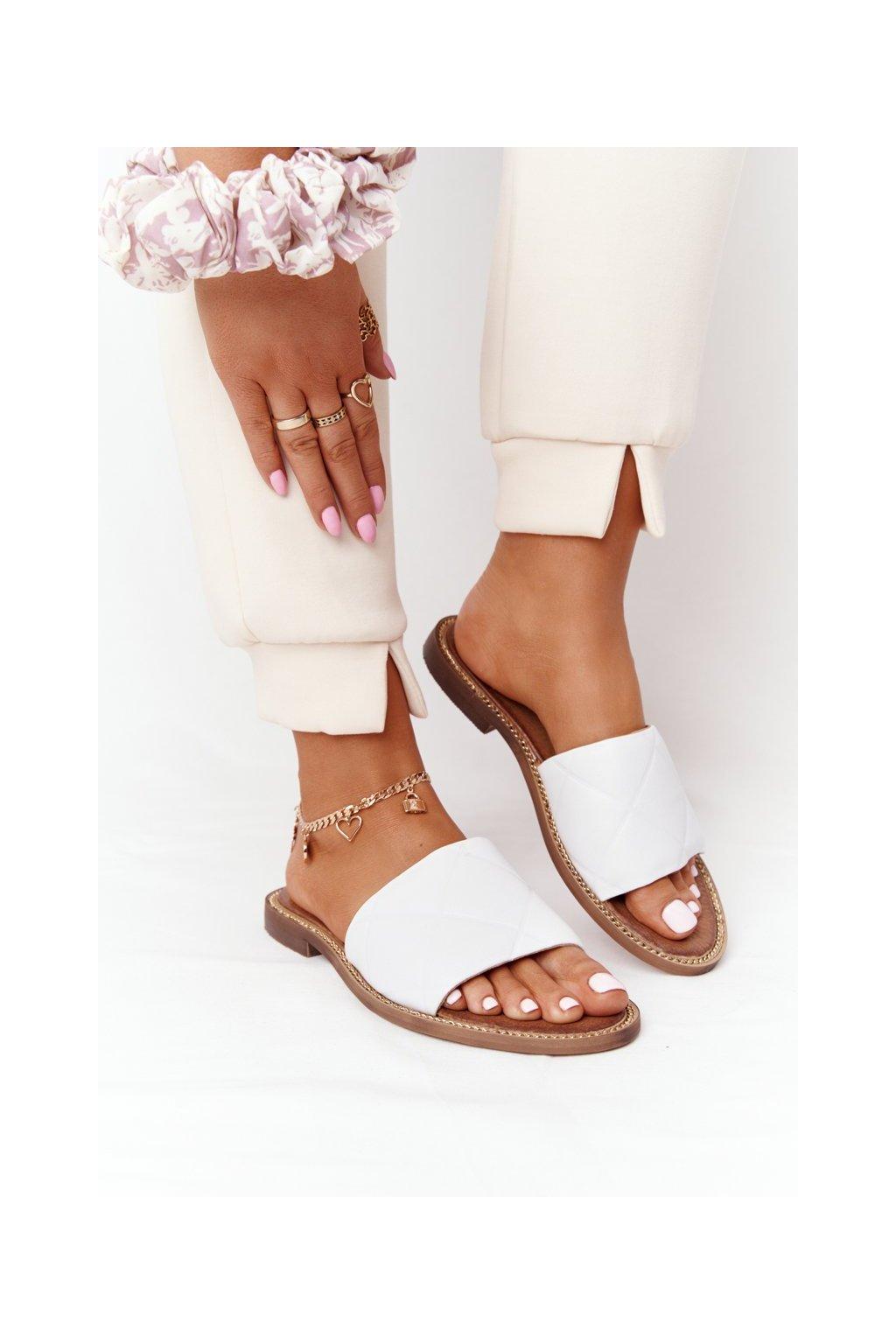 Dámske šľapky farba biela kód obuvi 2650/003 WHITE