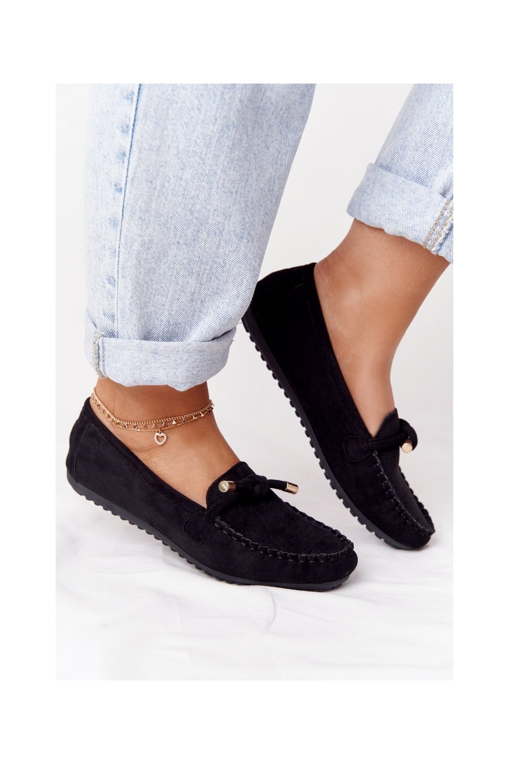 Dámske mokasíny farba čierna kód obuvi J142 BLK
