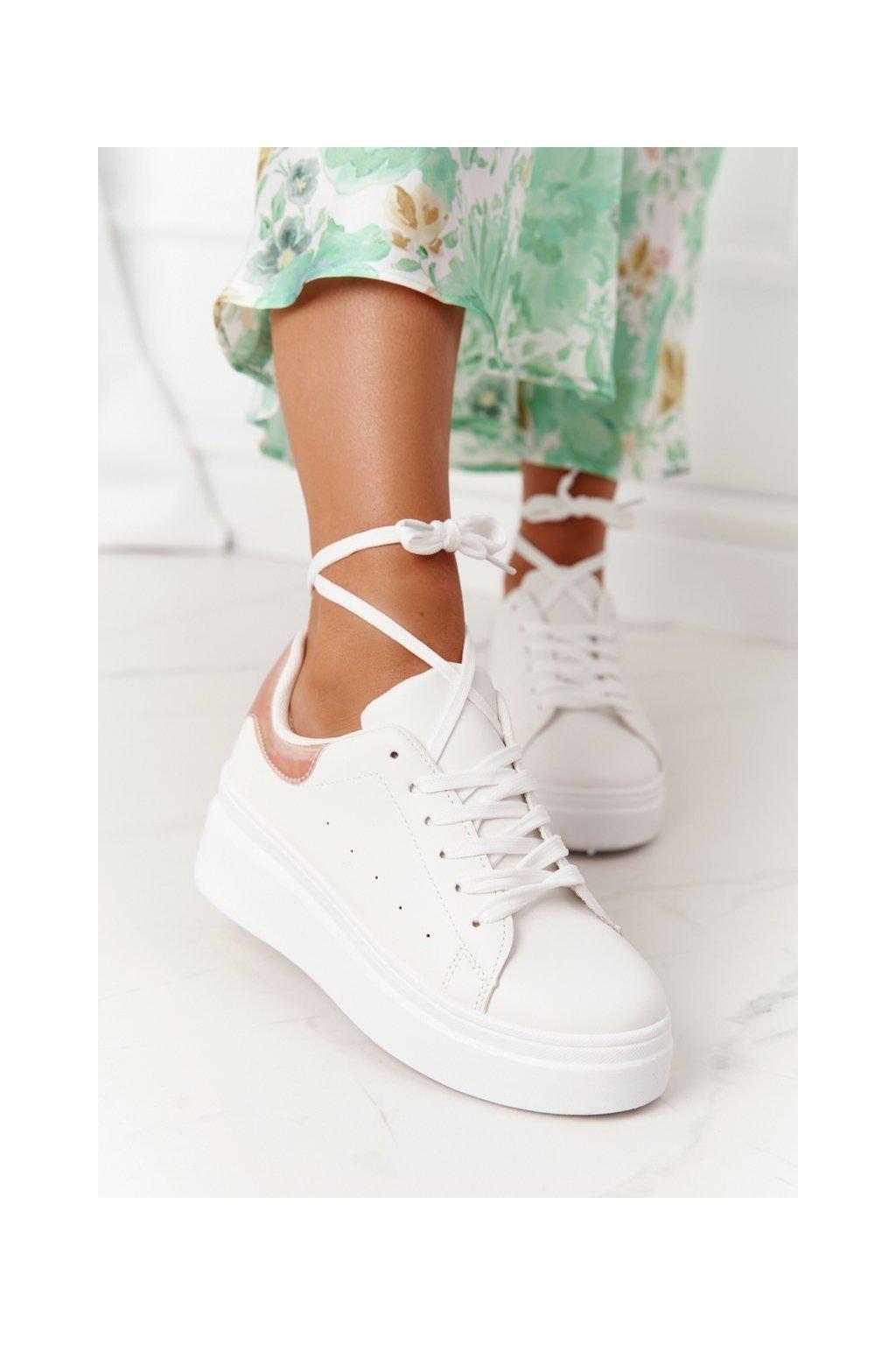 Dámske tenisky farba biela kód obuvi LA36 WHITE/CHAMPAGNE-AR