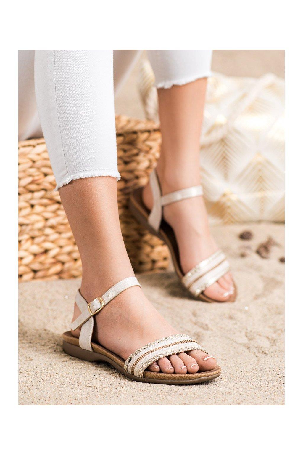 Zlaté sandále s plochou podrážkou S. barski kod 6708GO