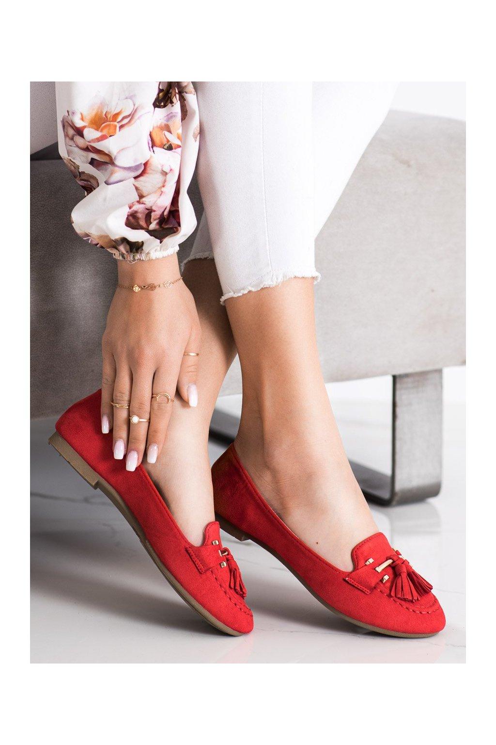 Červené mokasíny Kayla kod LL6393R