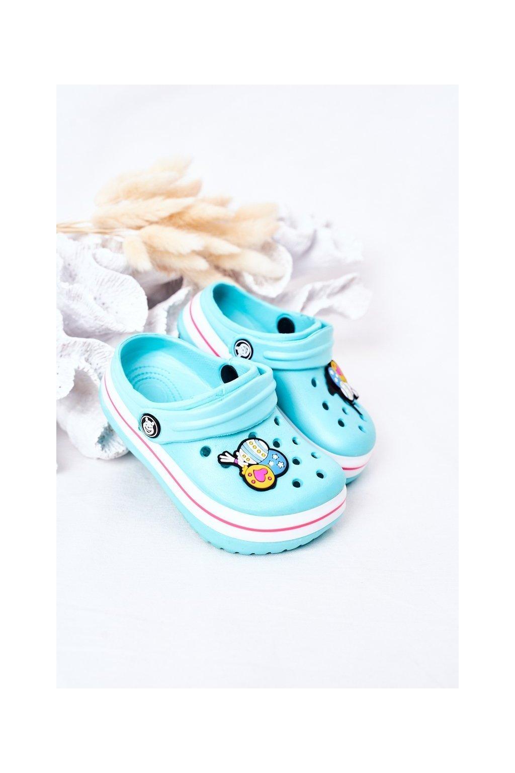Detské šľapky farba ružová kód obuvi 8843CC GREEN/PINK