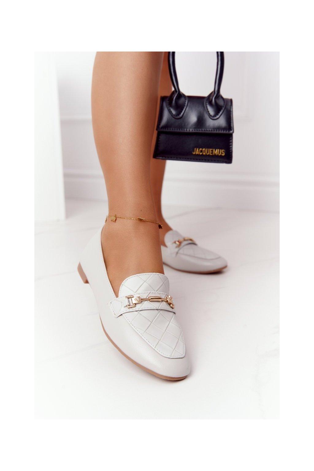 Dámske mokasíny farba sivá kód obuvi JL76 GREY