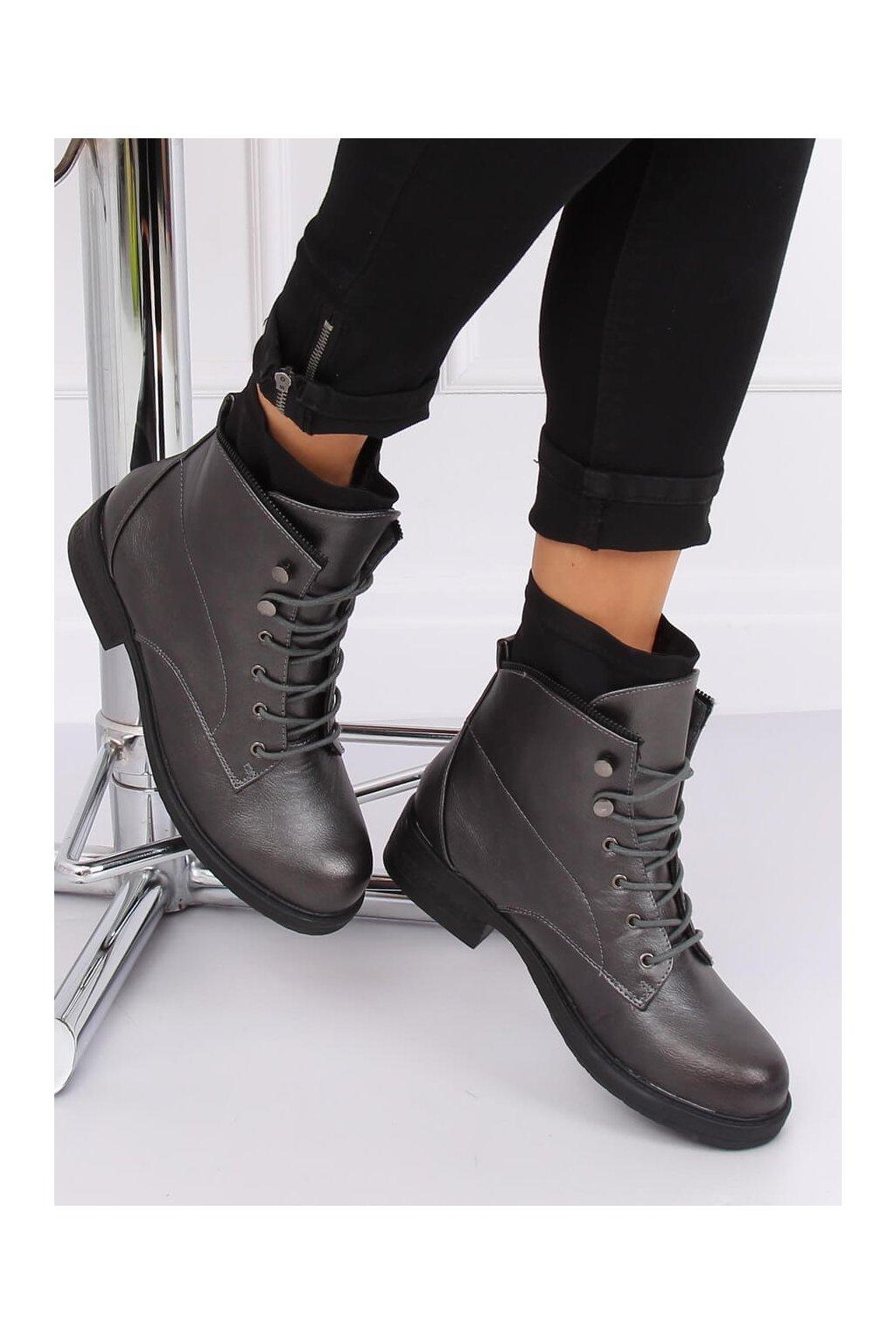 Dámske členkové topánky sivé na plochom podpätku 100-901B0-1