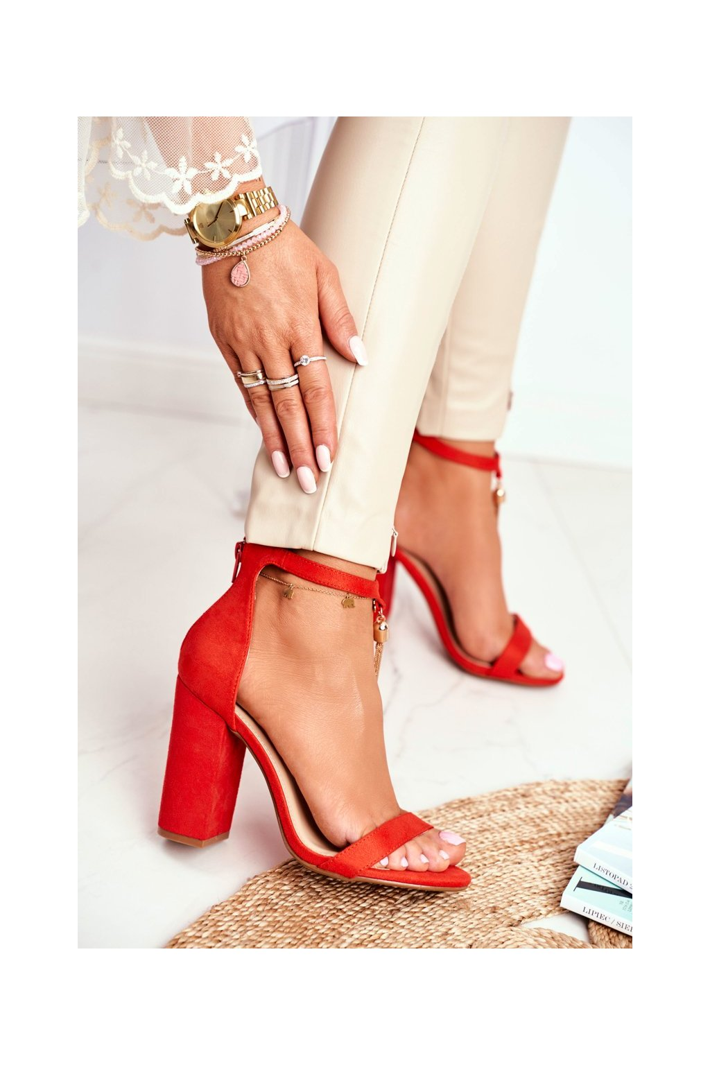 Dámske sandále na podpätku farba oranžová NJSK J76-11 ORANGE