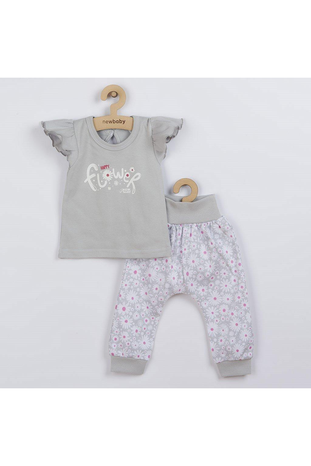 2-dielna dojčenská bavlnená súprava New Baby Happy Flower sivá