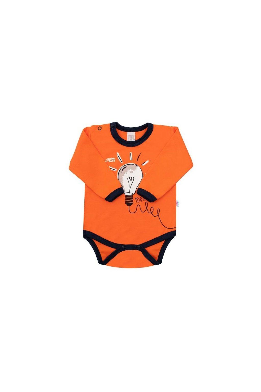 Dojčenské bavlnené body s dlhým rukávom New Baby Happy Bulbs