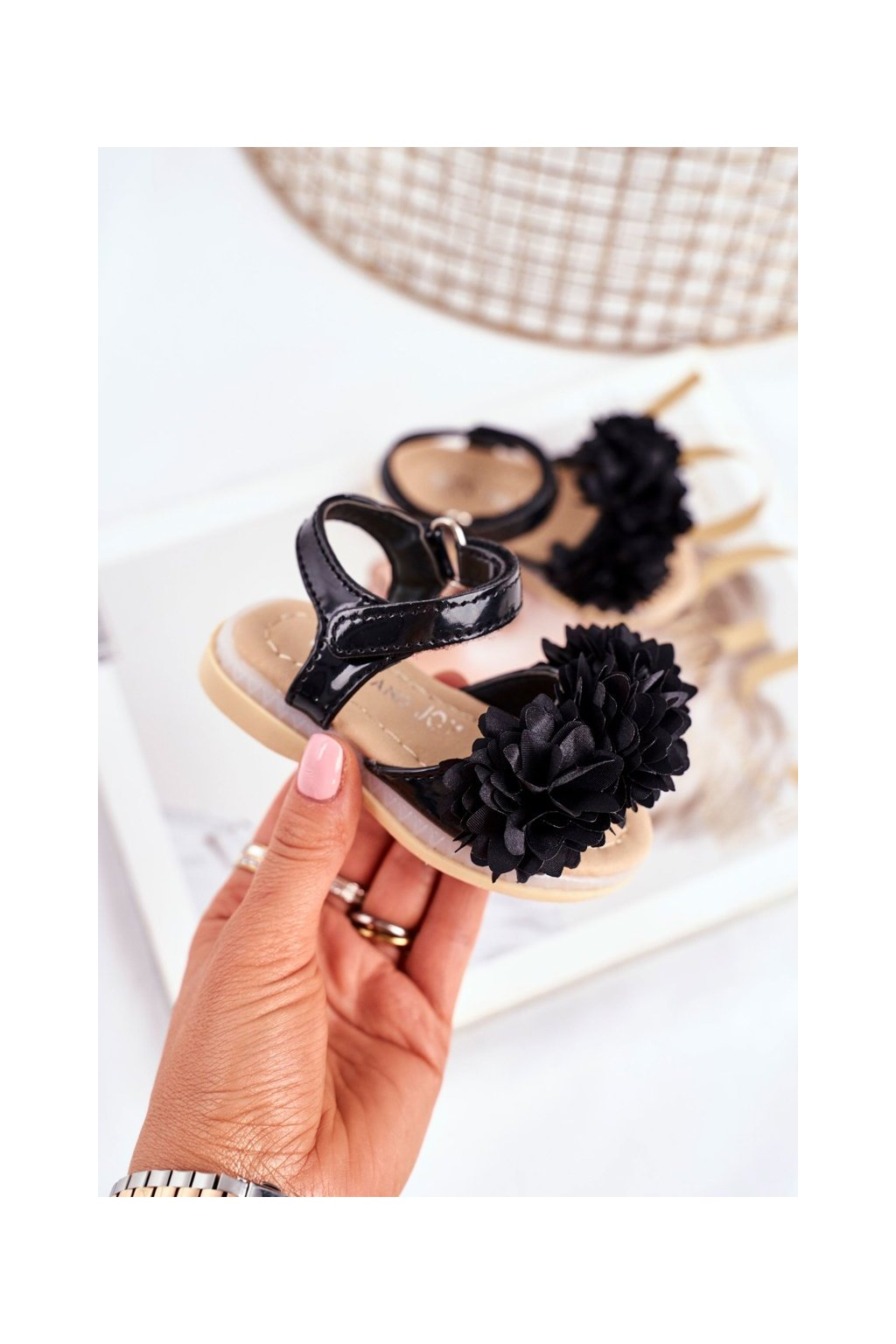 Detské sandále farba čierna NJSK 243-A BLK