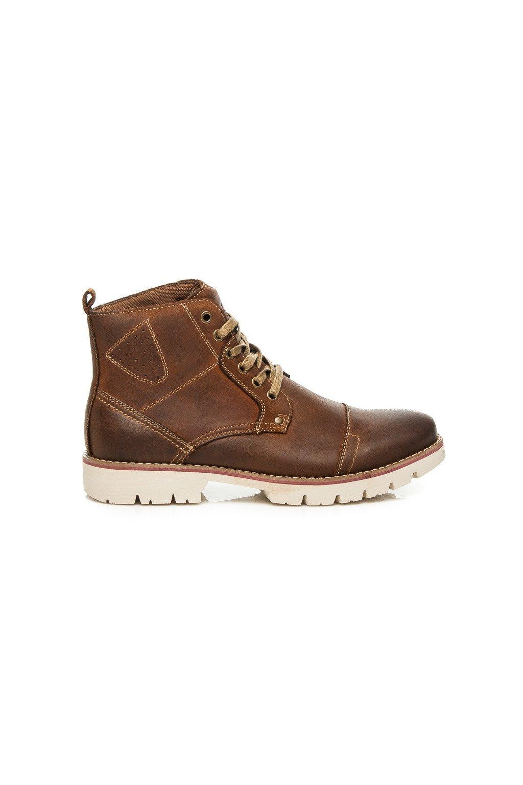 Kožené topánky s protektorovanou podrážkou  SH5476-1DK.BR (Veľkosť 47)