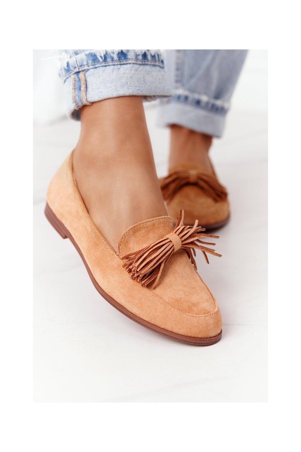Dámske mokasíny farba hnedá kód obuvi 21PB35-3530 CAMEL