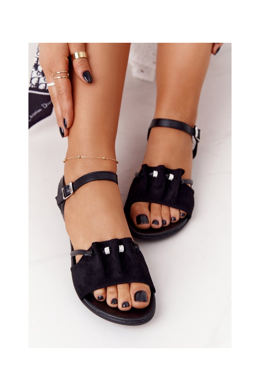 Dámske sandále farba čierna kód obuvi 21SD35 3520 BLACK