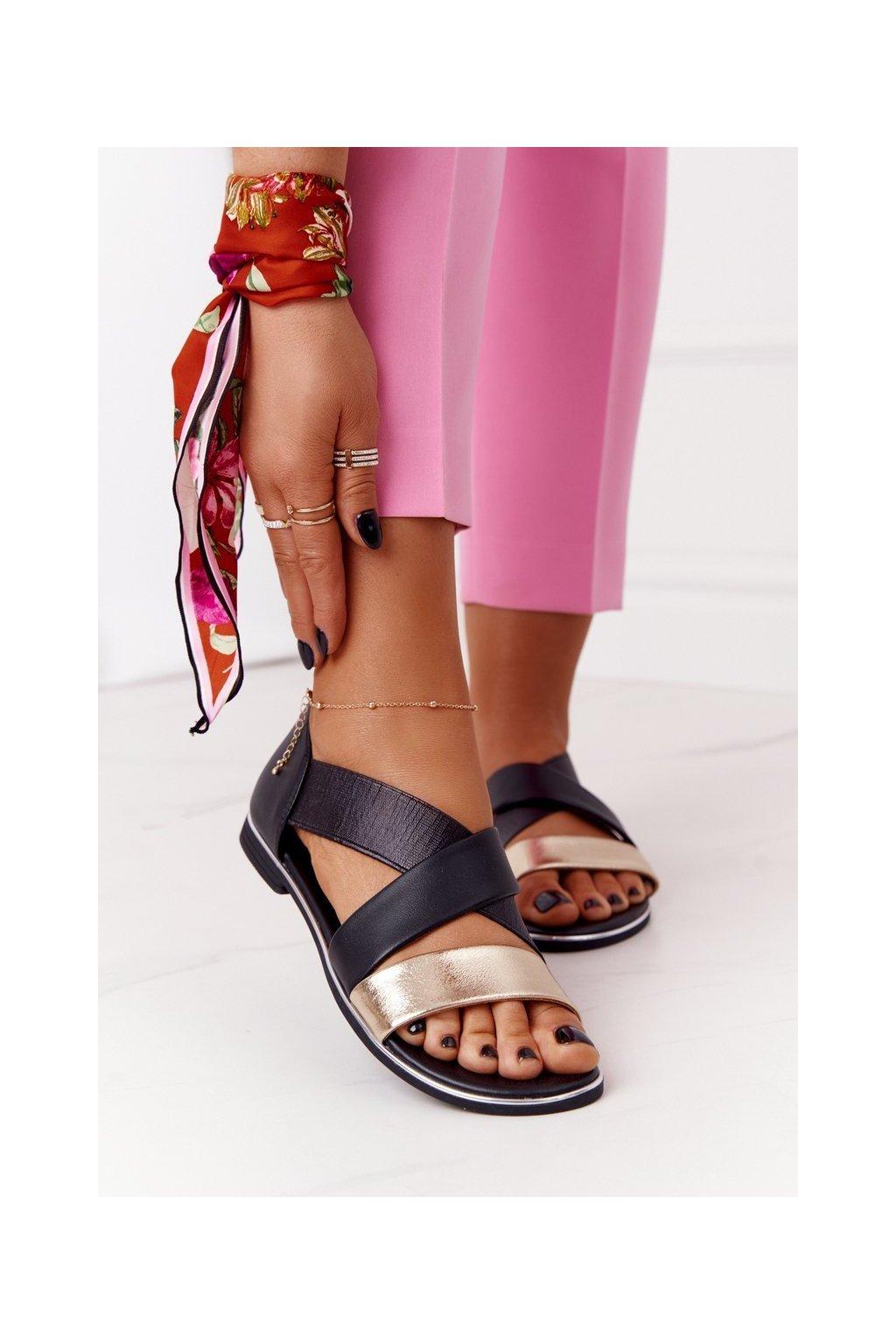 Dámske sandále farba čierna kód obuvi 21SD-3882 BLACK-GOLD