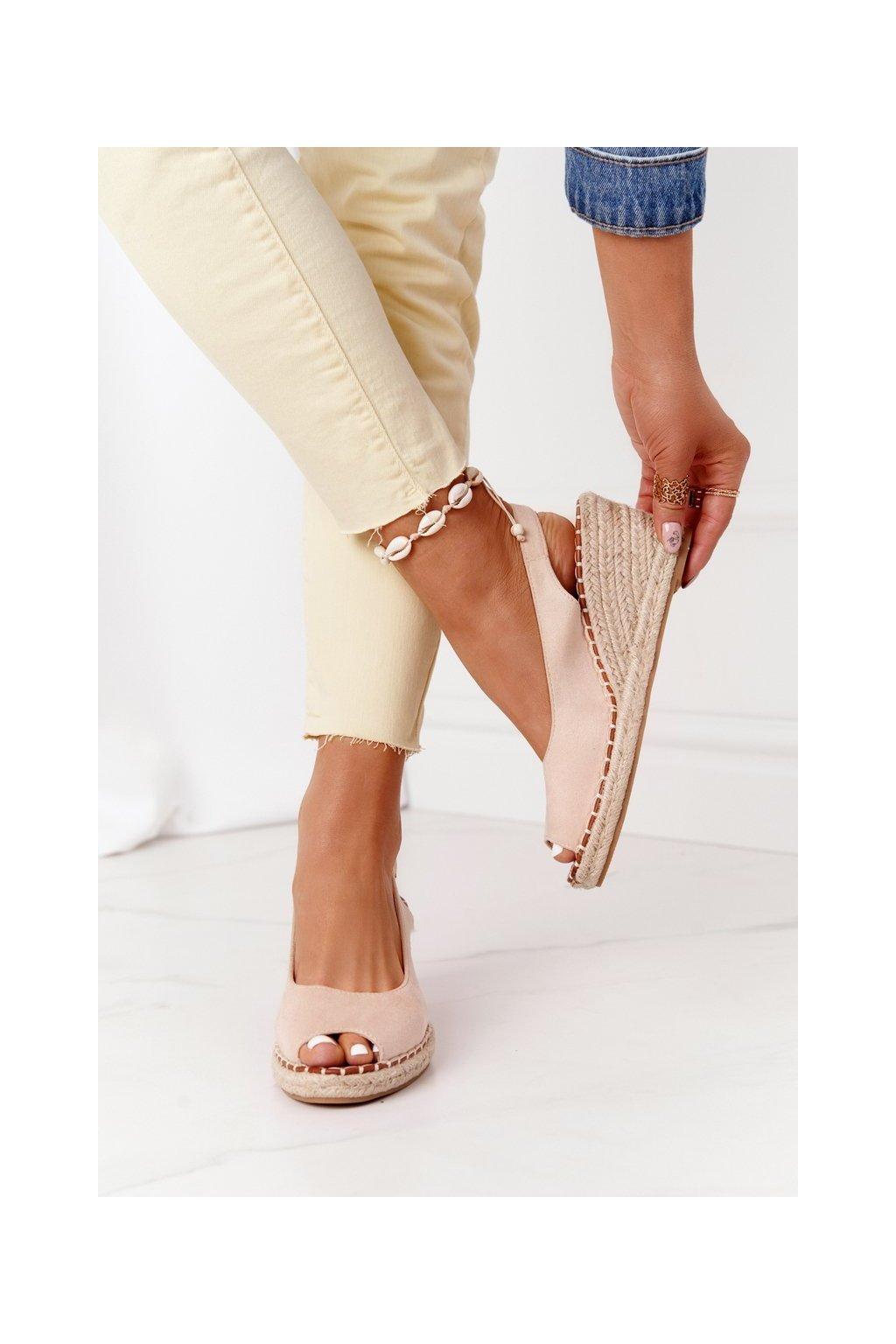 Dámske sandále farba hnedá kód obuvi H135 BEIS