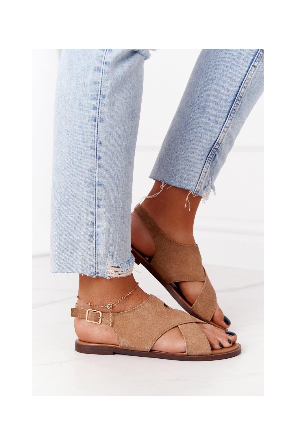 Dámske sandále farba hnedá kód obuvi SK060 BEIGE