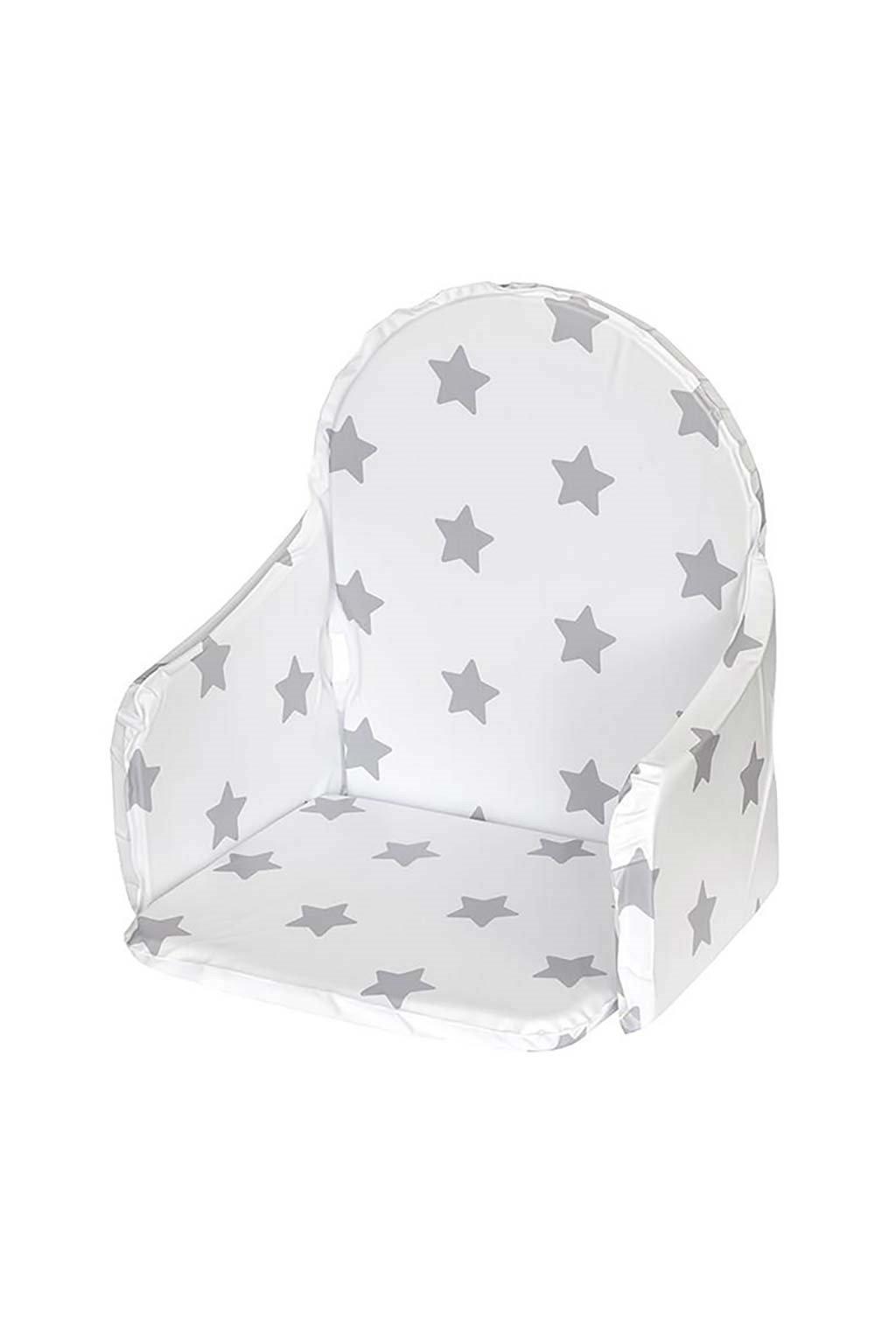 Vložka do drevených jedálenských stoličiek typu New Baby Victory biela hviezdičky sivé
