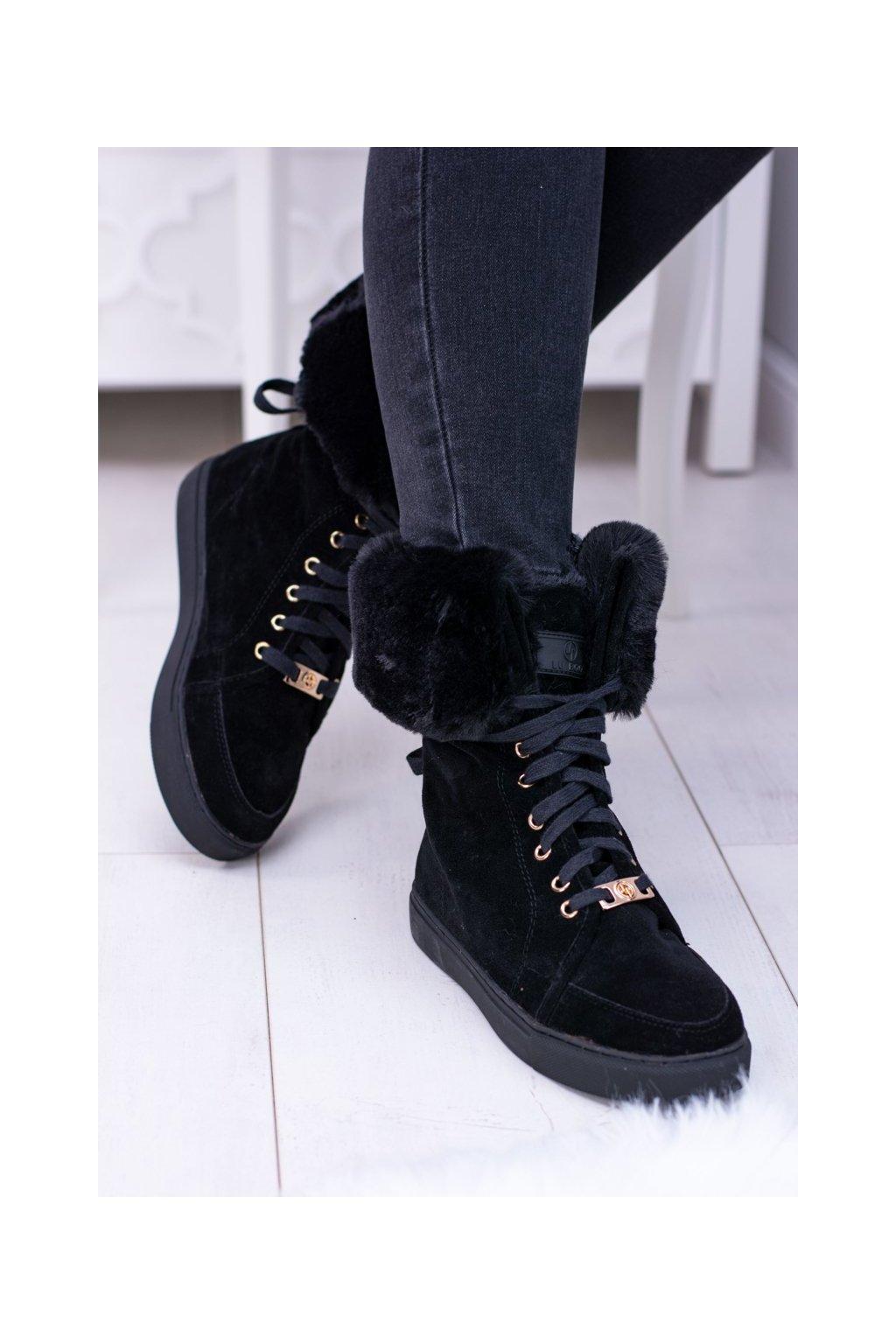 Členkové topánky na podpätku farba čierna kód obuvi B-15 BLK