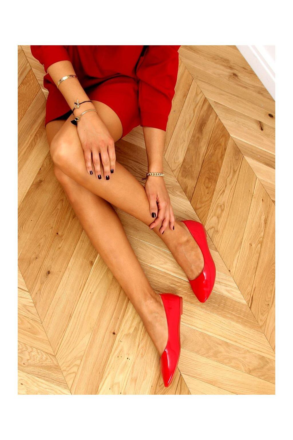 Dámske baleríny červené CC201