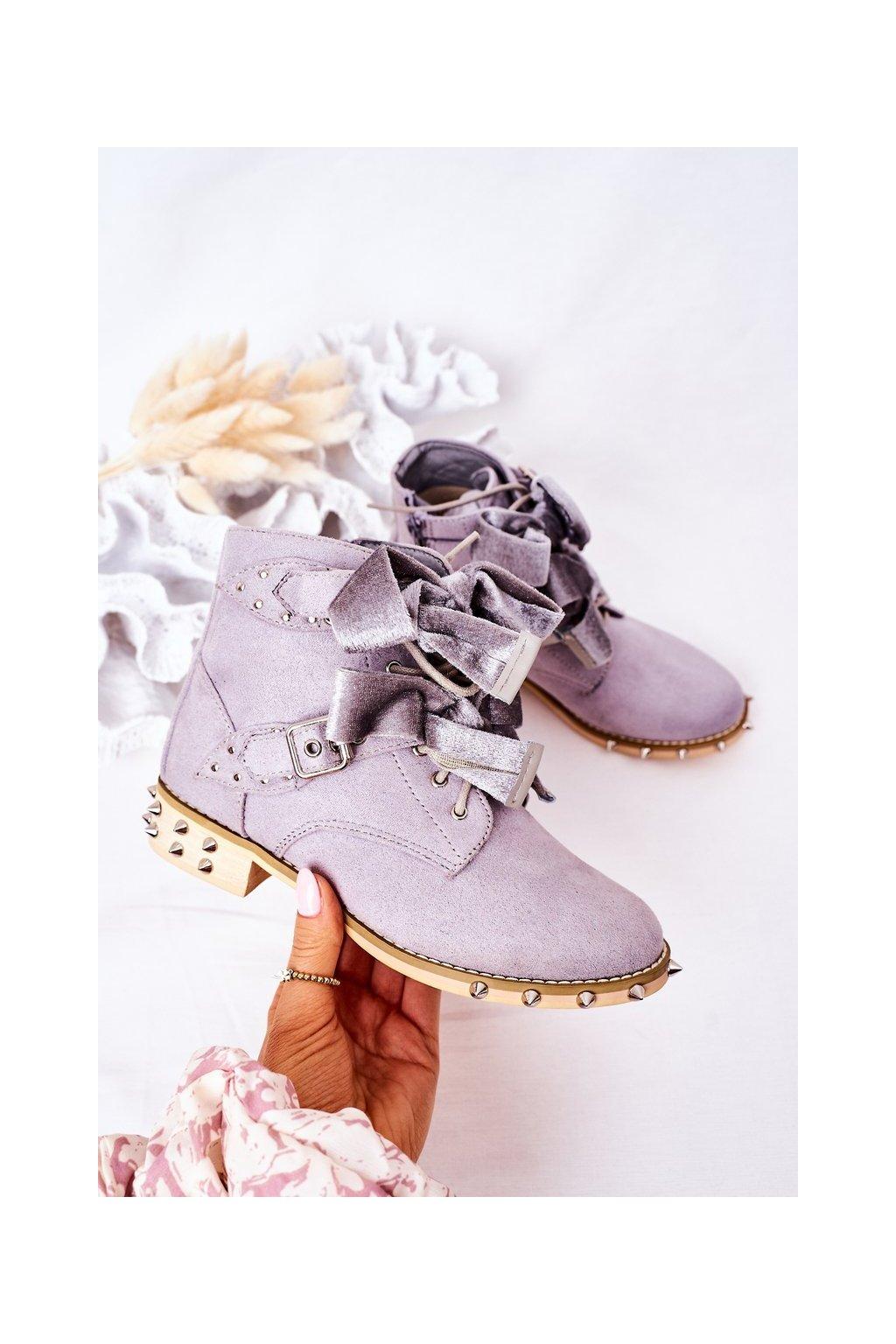Detské členkové topánky farba sivá kód obuvi XW37017C GREY