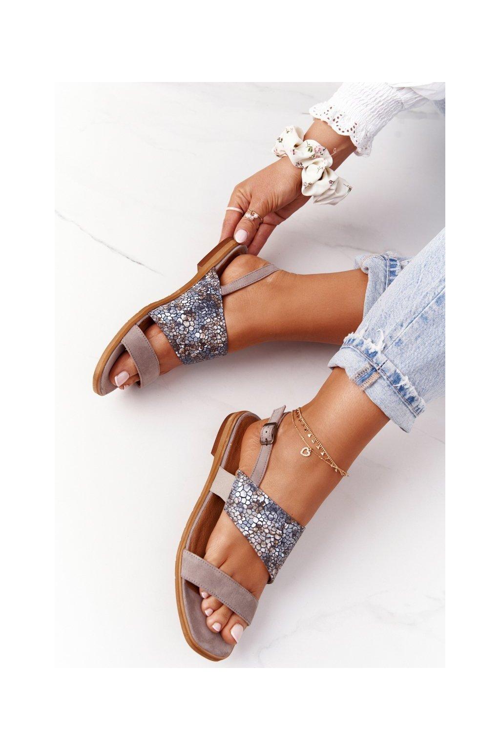 Dámske sandále farba hnedá kód obuvi 05167-10/00-5 BEŻ CIEMNY