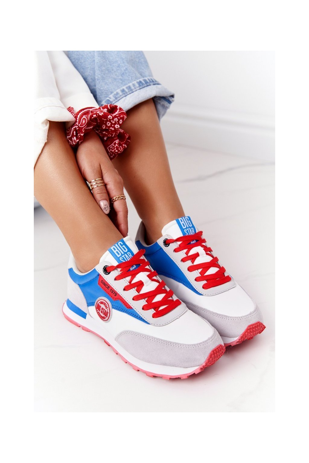 Dámske tenisky farba biela kód obuvi HH274526 WHITE/ROYAL BLUE