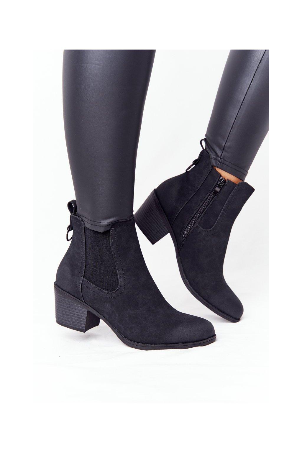 Členkové topánky na podpätku farba čierna NJSK 20Y8014-1 BLACK