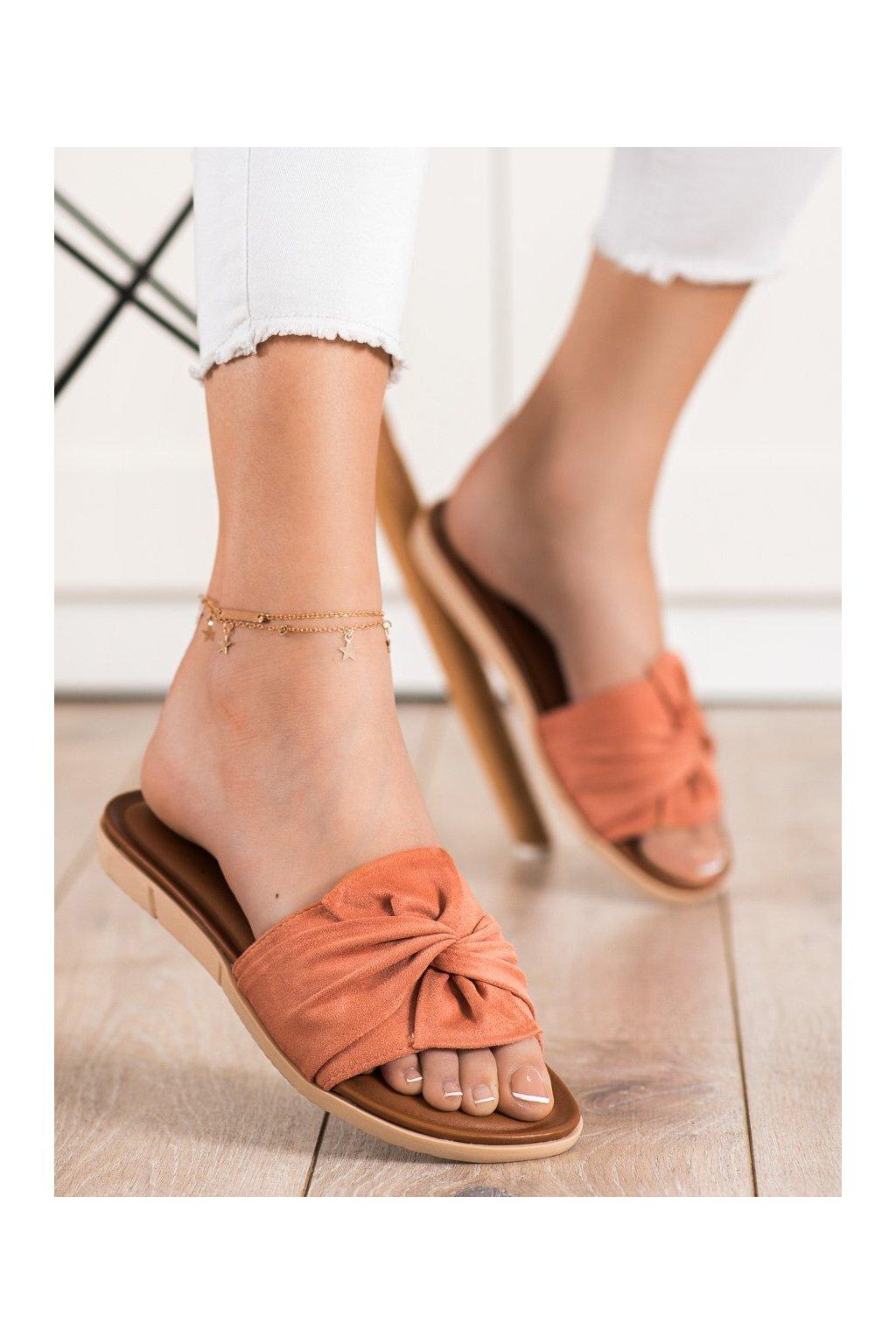 Oranžové dámske šľapky Vinceza kod YQE21-17122P