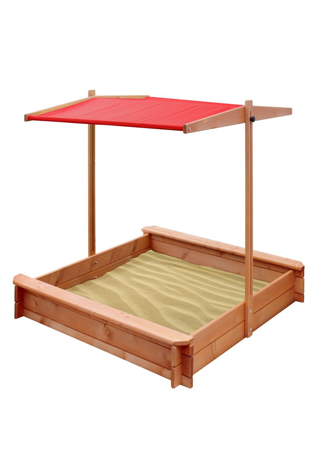Detské drevené pieskovisko so strieškou NEW BABY 120 x 120 cm červené
