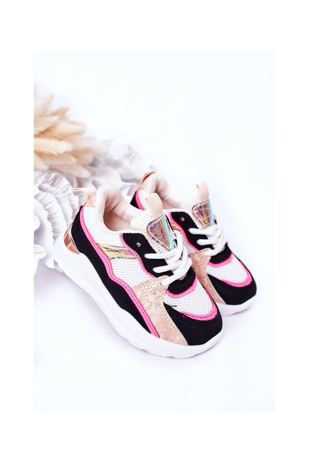 Detské tenisky farba čierna kód obuvi 894-C BLK/NEON PINK