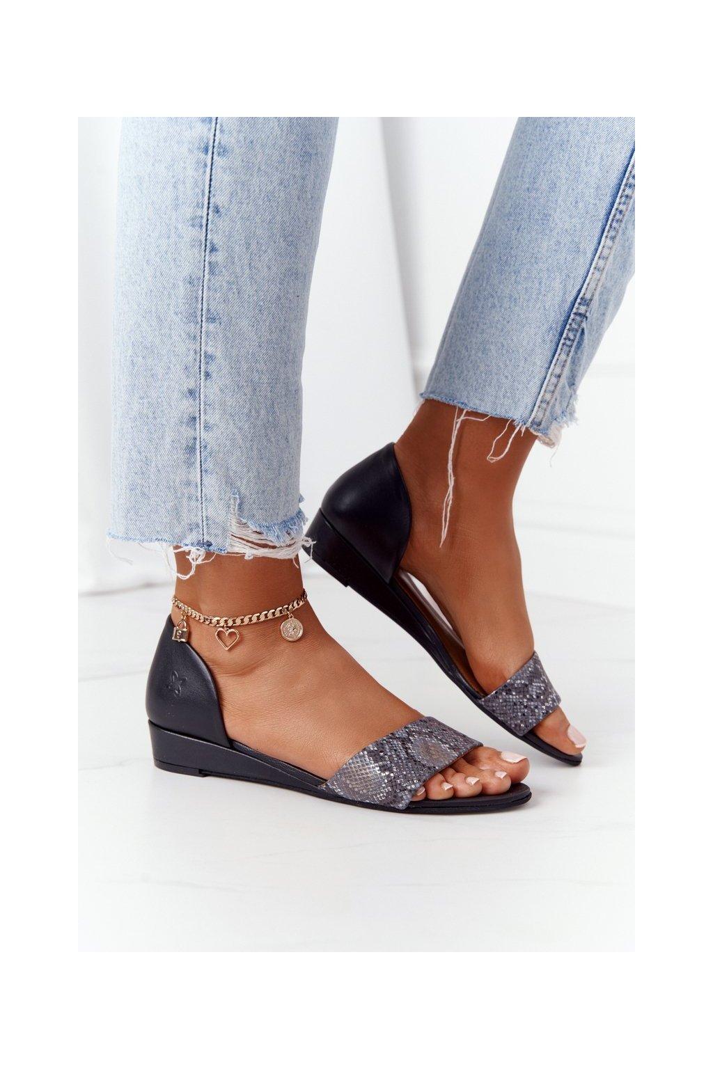 Dámske sandále farba čierna kód obuvi 01971-59/00-5 CZARNY, POPIEL, GAD