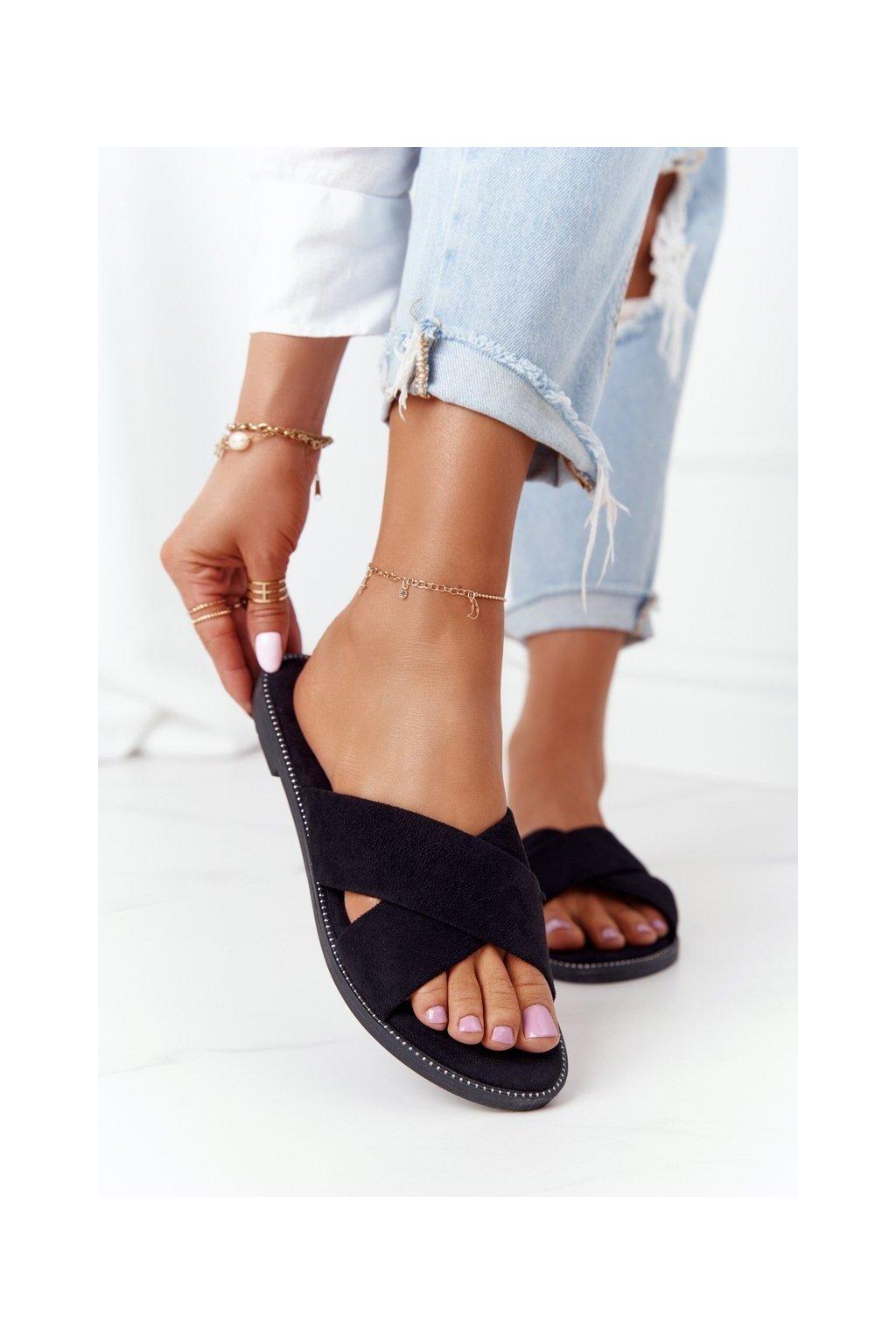 Dámske šľapky farba čierna kód obuvi 5143 BLACK